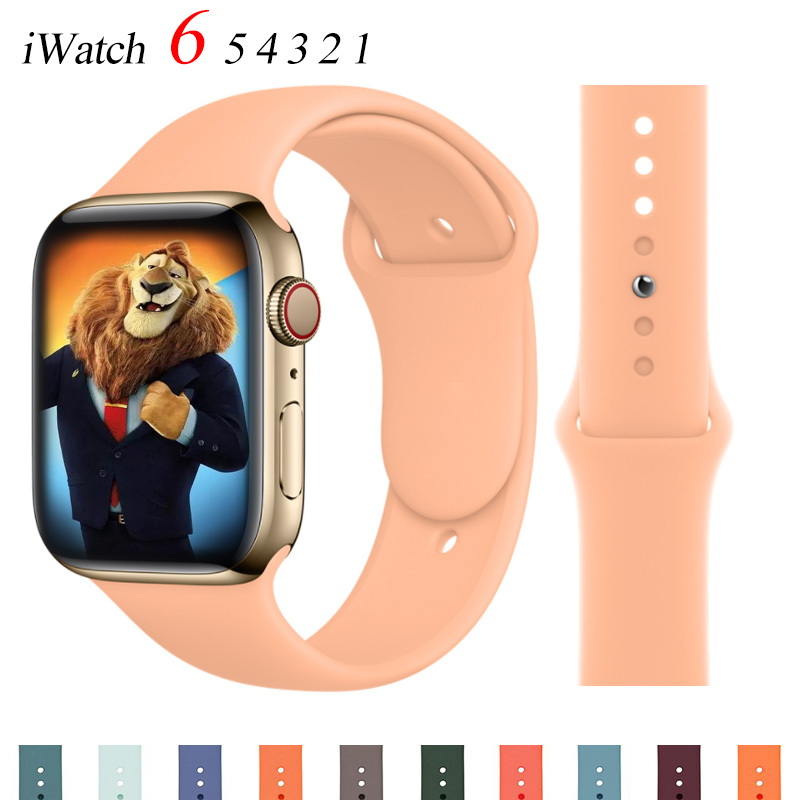 Silicone Strap For Apple Watch band 44mm 40mm 38mm 42mm Rubber belt correa wristband bracelet iWatch 3 4 5 se 6 band