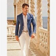 남성 정장 (자켓 + 바지) 캐주얼 디자이너 여름 해변 웨딩 블루 블레이저 화이트 바지 2 Pieces Street Prom Best M