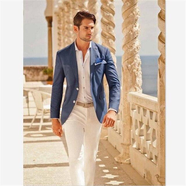 Mens חליפות (מעיל + מכנסיים) מקרית מעצב קיץ חוף חתונה כחול בלייזר לבן מכנסיים 2 חתיכות רחוב נשף הטוב ביותר M