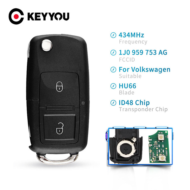 KEYYOU 2 Buttons Flip Remote Car Key Fob For VOLKSWAGEN VW Golf 4 5 Passat b5 b6 polo Touran 434MHz ID48 Chip 1J0 959 753 AG