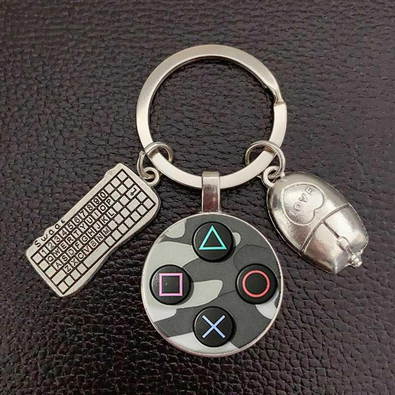 Porte-clés en verre, dôme rond convexe, de qualité, marques populaires, contrôleur de jeux photos, cadeau pour petit ami