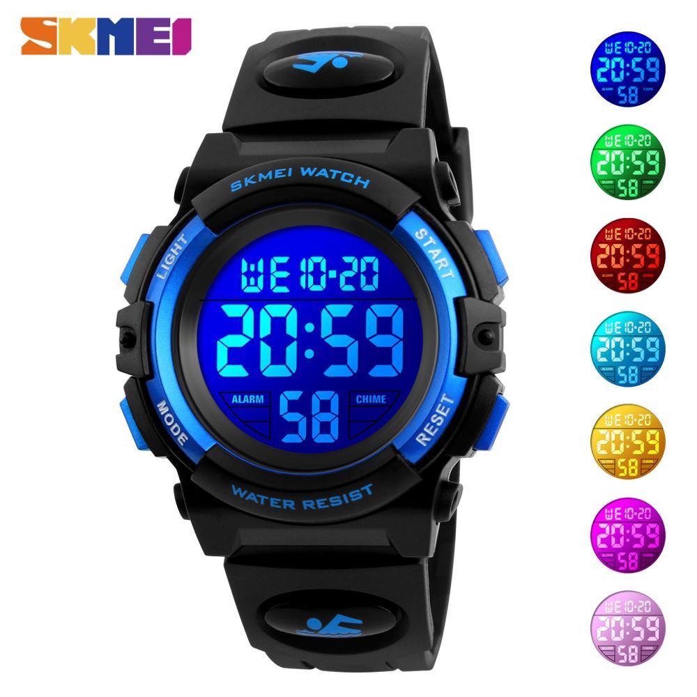 SKMEI Children LED Electronic Digital Watch Chronograph Clock Sport Watches 5Bar Waterproof Kids Wristwatches For Boys Girls