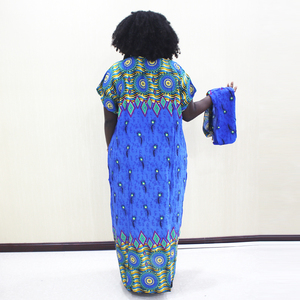 Image 2 - Dashikiage Peacock Feather Print Dress African Dashiki Plus Size Short Sleeve Casual Blue Dresses With Sarf