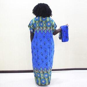 Image 2 - Dashikiage paw nadruk z piór sukienka afrykański Dashiki Plus rozmiar z krótkim rękawem niebieska w stylu Casual sukienki z Sarf