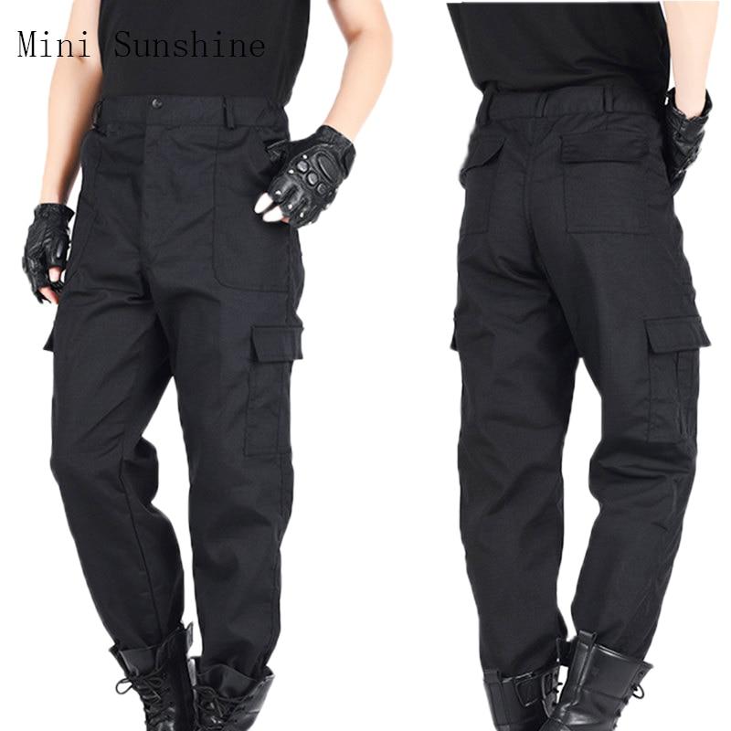 Men Cargo Pants Black Autumn Fleece Lining Mens Waterproof Trousers Male Stretch Casual Work Pants Trousers Z3