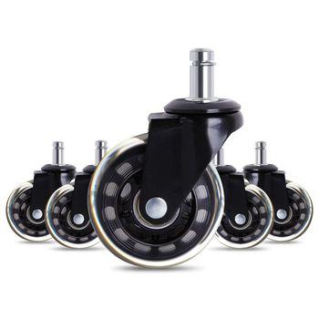 Rodas de cadeira de escritório, 5 unidades, estilo castor, lâmina de rollerblade, substituição da roda (2.5/3 polegadas)