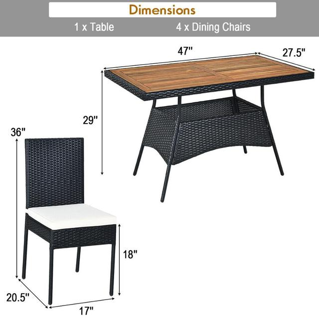 5 PCS Patio Dining Table w/Wood Top Cushioned Chairs  2