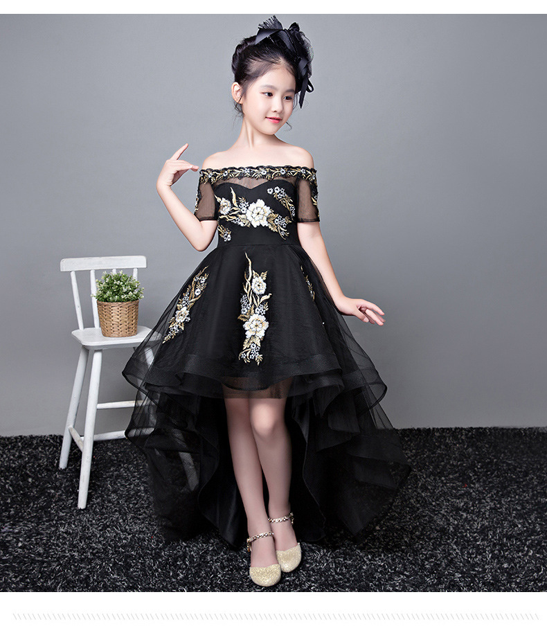 Children Birthday Formal Dress 2019 Autumn And Winter New Style Girls Nobility Fashion Catwalks Black And White With Pattern Tai