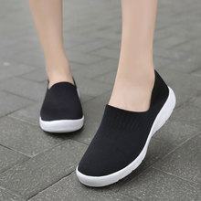 MWY Women Casual Shoes Soft Socks Black Sneakers Breathable Loafers Chaussures Femme Trainers Vulcanize