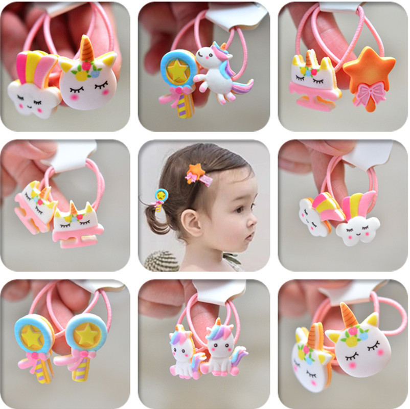 2PCS Cartoon Cute Rainbow White Horse Kids Elastic Hair Bands Princess Headwear Children Ropes Girls Accessories Baby Headdress