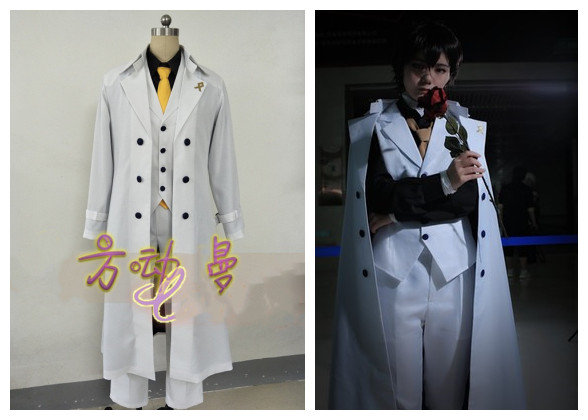 Best Price  Bungo Stray Dogs: DEAD APPLE Dazai Osamu Cosplay Costume Men White Trench Pants Suit Literary Stray