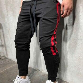men jogging pants red side stripres