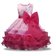 Summer Kids Dresses For Girls Formal Children Girls Dress Sleeveless Lace Bowknot Flower Girl Dresses O-neck Kids Dress