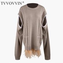 TVVOVVIN, новинка, круглый вырез, вязанные, разбитые рукава-фонарики, крестообразные, большие, свободные, пуловеры, свитера, женские, мех на нижней части, L740