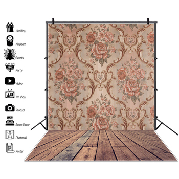 Laeacco Old Vintage Flowers Pattern Damask Wooden Floor Party Decor Baby Child Portrait Photo Background Photography Backgrounds new arrival background fundo many flowers bloom backgrounds 5x7ft s 991