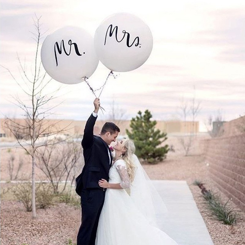 36inch Mr Mrs White Latex Big Size Balloons for Wedding Party/Bridal Bride/Engaged Party 2