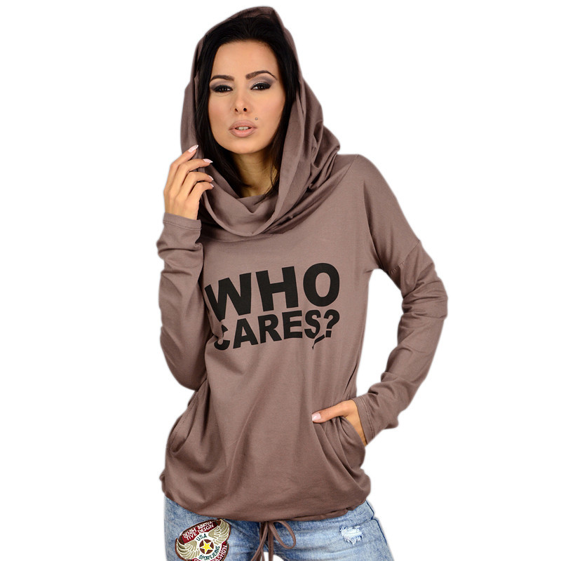 Autumn Hot Women Hoodies Casual Fleece Loose Pullover Sweatshirt Who Cares Printed Female Hoodies Tops