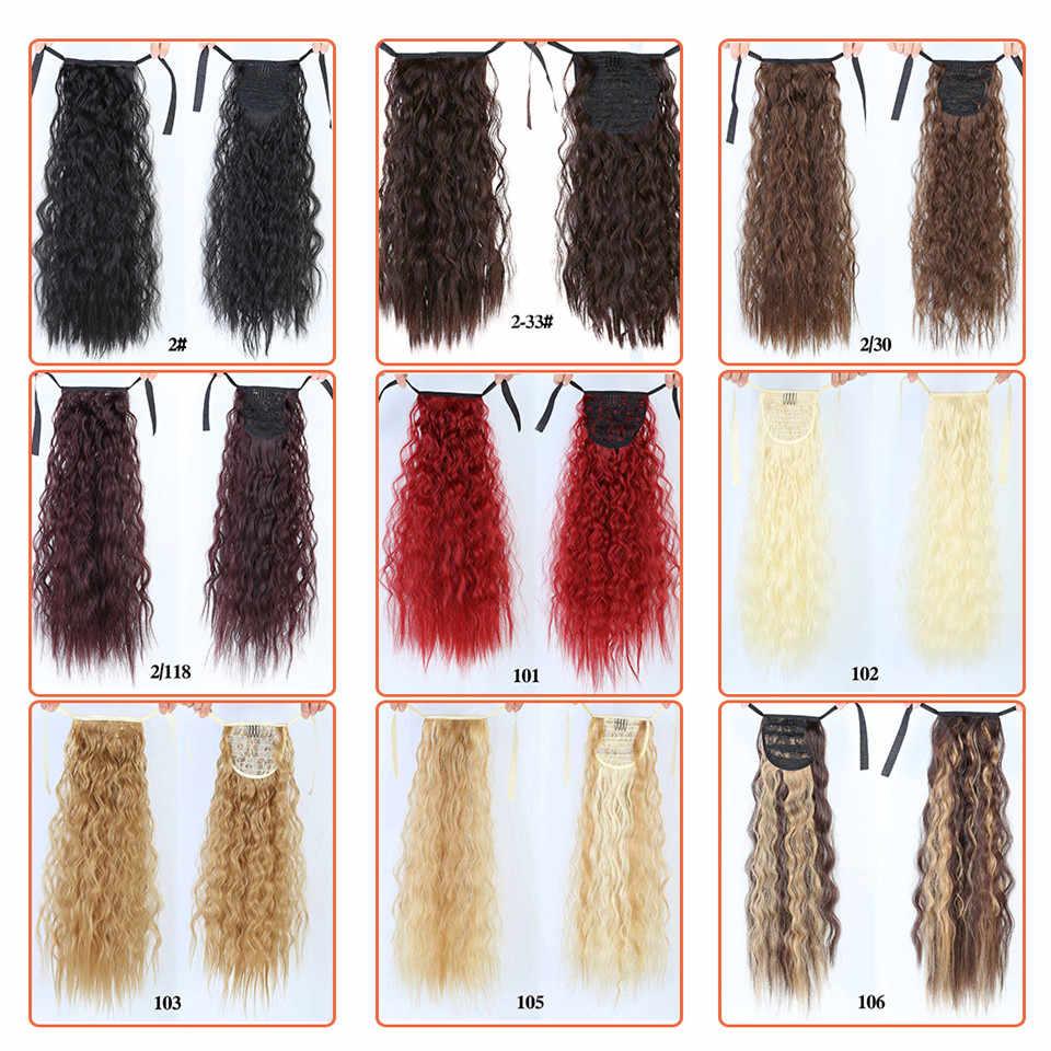 MANWEI Wellenförmige Lange Pferdeschwanz Synthetische Haarteil Wrap auf Clip Haar Extensions Ombre Braun Pony Schwanz Blonde Fack Haar