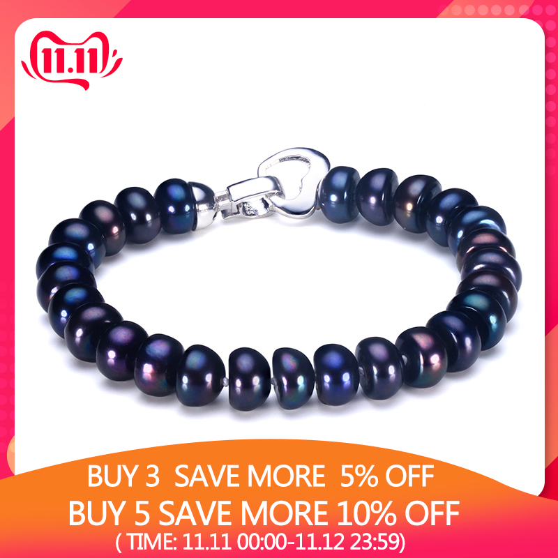 HENGSHENG 2019 New Black Natural Pearl Bracelet For Women 9 9 5 mm Big Bread Round HENGSHENG 2019 New Black Natural Pearl Bracelet For Women,9-9.5 mm Big Bread Round Freshwater Pearl With Cute Love Shape Buckle