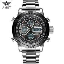 男性ファッションスポーツミリタリー腕時計 2020 新 amst は、男性の高級ブランド 5ATM 50 メートルダイビング led デジタルアナログクオーツ腕時計