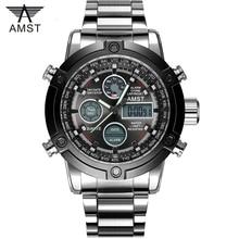 Male Fashion Sport Military Wristwatches 2020 New AMST Watches Men Luxury Brand 5ATM 50m Dive LED Digital Analog Quartz Watches
