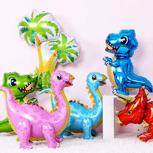 1pc Large 4D Walking Dinosaur Foil Balloons Boys Animal Balloons Childrens Dinosaur Birthday Party Decorations Kids Gift Balloon(China)