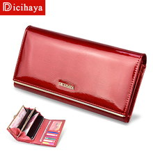DICIHAYA Genuine Leather Women's Wallets Patent Leather Long Ladies