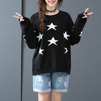 2019 Autumn & Winter New Arrival Plus Size Sweatshirt Five pointed Star Print Long Sleeve Sweatshirt White / Black Free Shipping