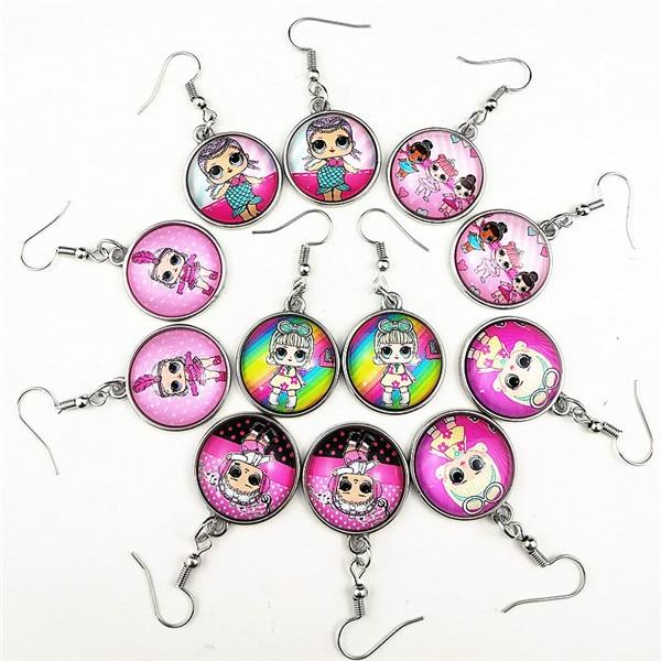 24 шт новые стили мультфильм кукла красочные бусы стеклянные браслеты ожерелье брелок кольцо серьги ювелирные изделия серии для девочек - Окраска металла: С черным покрытием, нанесенным краскопультом