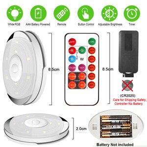 Image 5 - Âm Trần Cảm Biến Cảm Ứng Pin Đèn LED Dưới Tủ Màu Có Remote Không Dây Chiếu Sáng Nhà Bếp Đêm Đèn Tủ Quần Áo Phòng Ngủ Puck Ánh Sáng