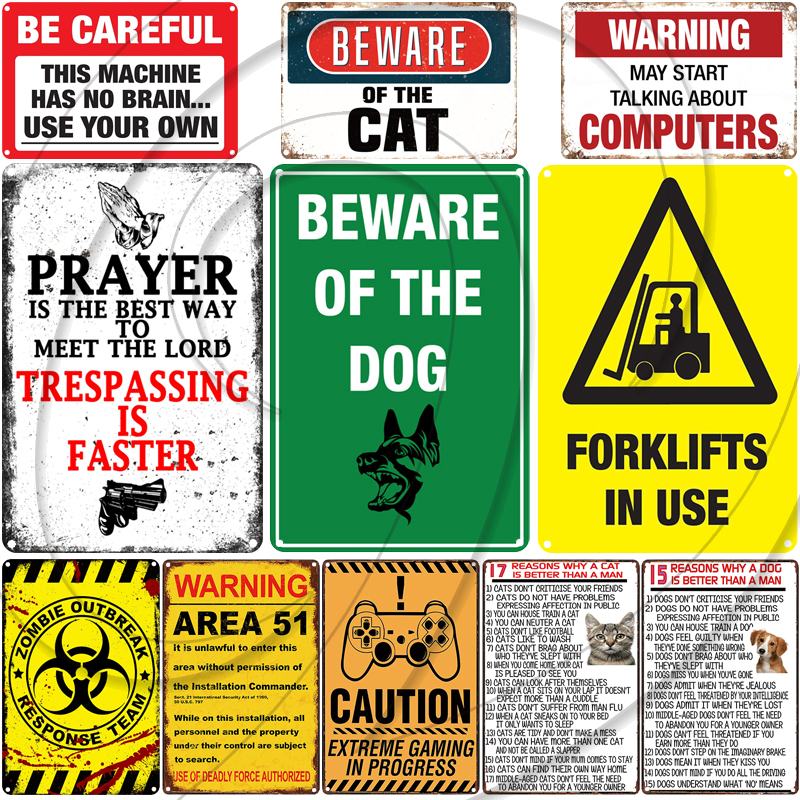 Metal Plate Sign Warn Caution Angry Gamer Home Wall Decor Cave Tin Store Shop