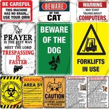 Aviso de No fumar carteles de estaño póster clásico de Metal cuidado con la placa del jugador loco Genius at Work decoración de pared