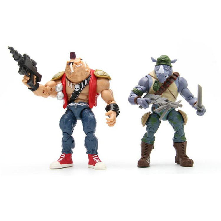 The sewer turtles Rocksteady Bebop Anime action figure prefect quality soldiers handmade Toys for children image