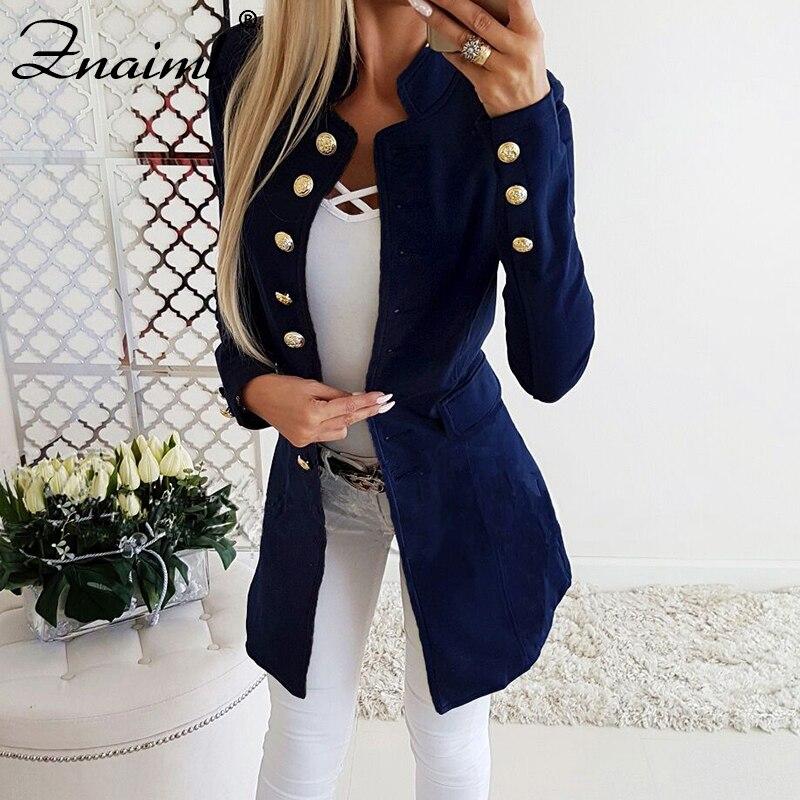 Office Ladies Blazer Solid Color Single Breasted Long Suit Coat Formal Fashion Mandarin Collar Button Pockets Slim Fit Uniform