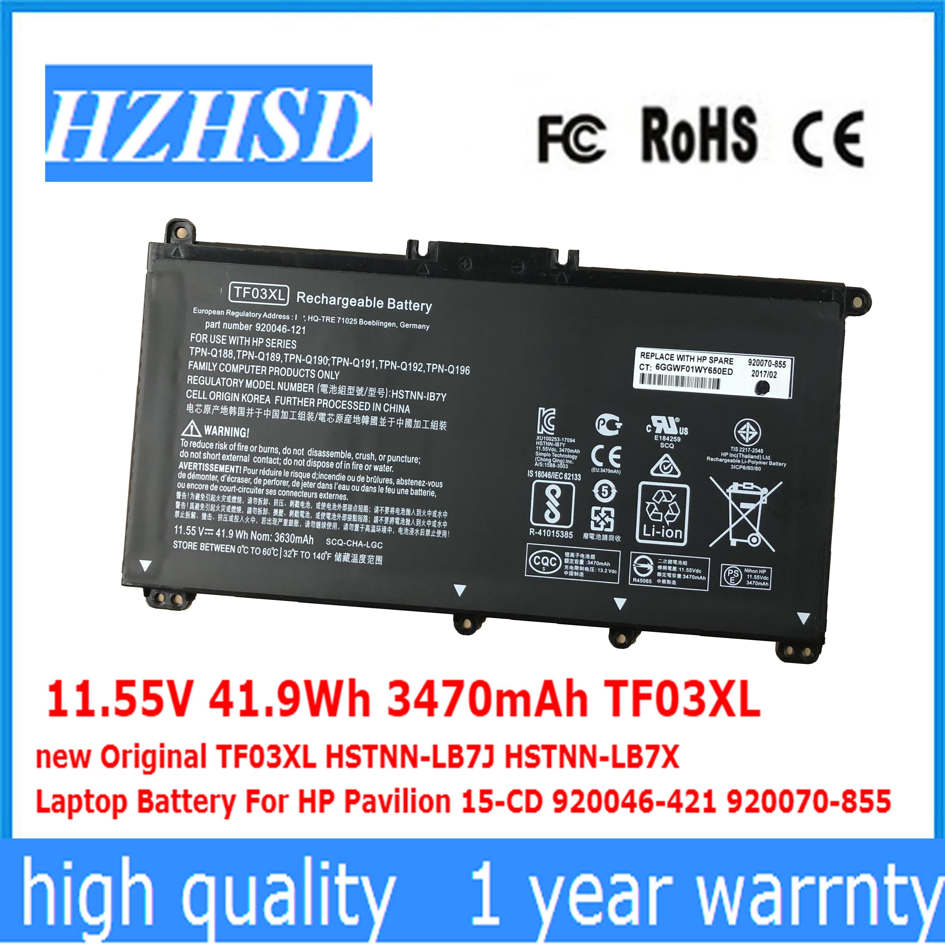 11.55V 41.9Wh 3470mAh TF03XL New Original TF03XL HSTNN-LB7J HSTNN-LB7X Laptop Battery For HP Pavilion 15-CD 920046-421 920070-85