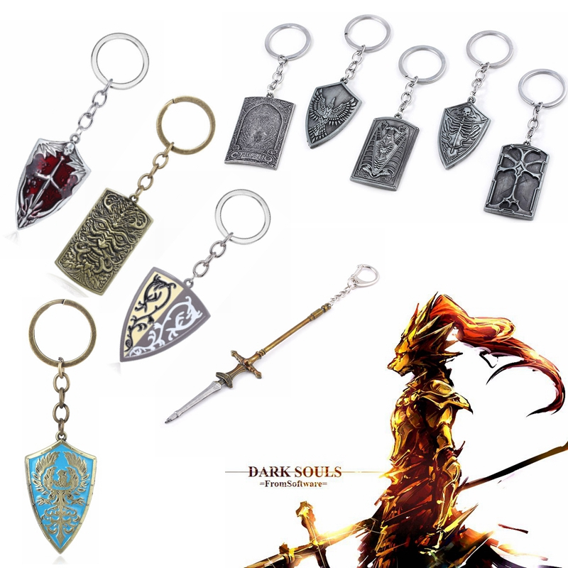 Wholesale 20pcs Dark Souls Weapon Model Keychain Bloodshield Grass Crest Golden Wing Crest Shield Key Chains for Men Keyring image