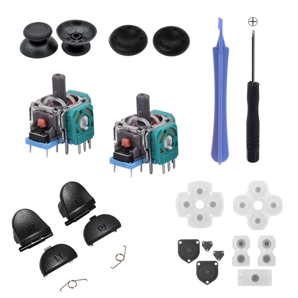 Handle Repair Parts Conductive Rubber Pad + Button + Spring + Screwdriver + Joystick Cap 20pc/ Sets For PS4
