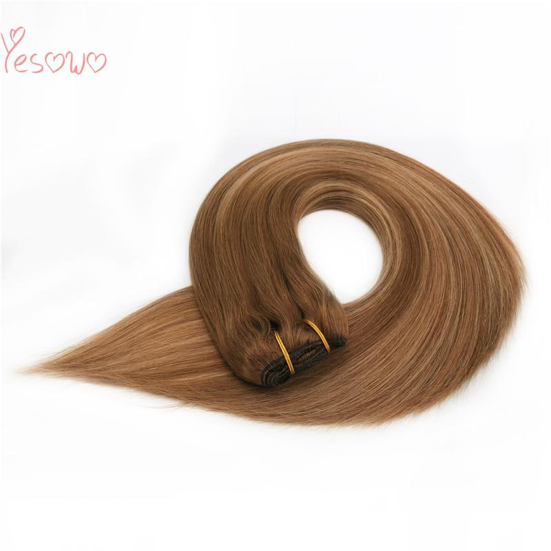 Yesowo High Grade 100g 12-26Inch Super Double Drawn Hair Highlight Malaysian Remy Hair Natural Straight Brown Human Hair Bundles