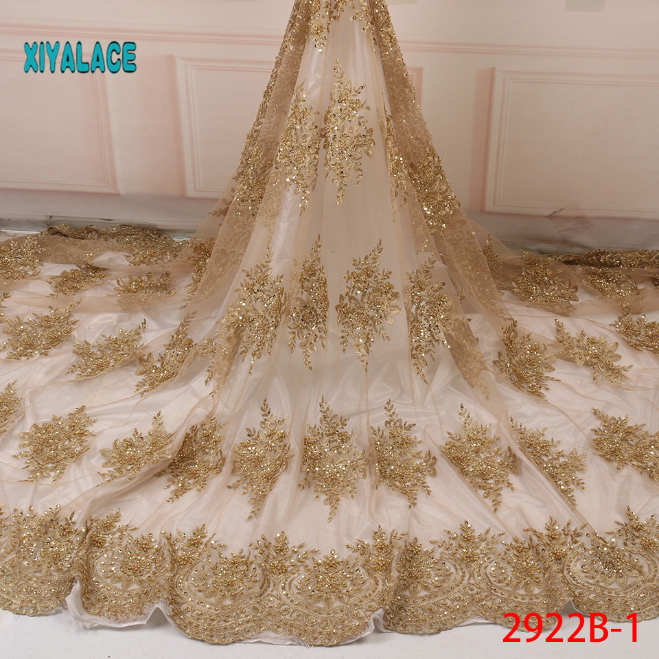 Luxury African Embroidery Organza 3D Flower Handmade Beaded Pearls Tulle Lace Fabric With Rhinestones For Wedding YA2922B-1