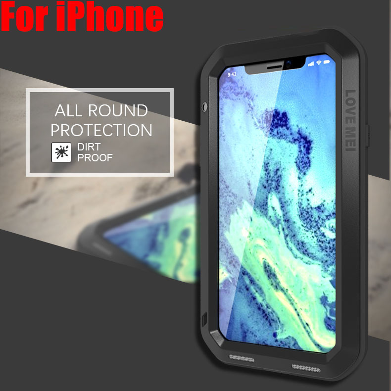 For IPHONE 11 Pro Max XS XR 8 7 6 PLUS 5SE Lovemei Aluminum Metal + Gorilla Glass Shock Drop Waterproof case for iPhone8 IPX04