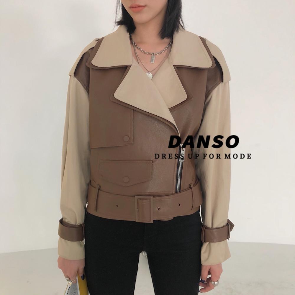 Fashion Locomotive Wind Short Warm Pu Leather Coat Female Hit Color Double Lapel Design  Leather Jackets With Belt F831