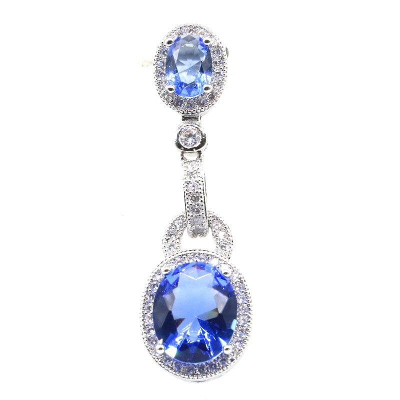 39x12mm Elegant Rich Blue Violet Tanzanite White CZ Ladies Present 2019 Hot Sell 925 Silver Pendant