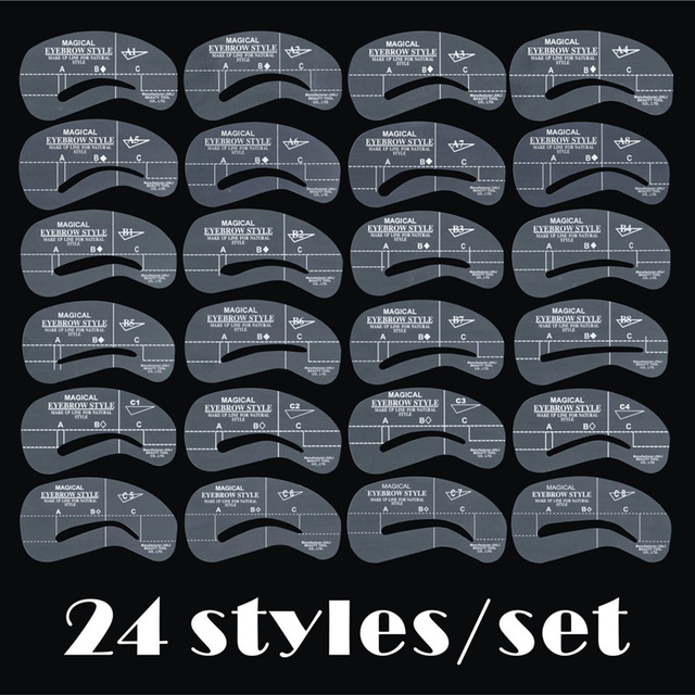 Pro Reusable Eyebrow Stencil Eye Brow DIY Drawing Guide Styling Shaping Grooming Template Card Easy Makeup Beauty Kit 24 PCS/Set
