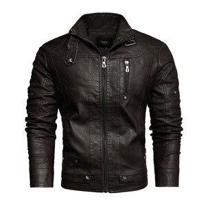 Image 4 - Veste en cuir PU hommes noir hiver automne mode manteaux hommes Style de rue col montant moto Bomber homme cuir pardessus