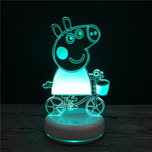 Peppa Pig's Peggy Anime Toy Lights LED Night Lights Baby Line Action Characters Children's Gifts peggy bird falling again