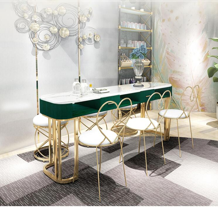 Купить с кэшбэком Net Red Marble Nail Table And Chair Set Single Double Gold Iron Double Manicure Table Simple Light Luxury