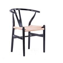 Нордический обеденный стул из цельного дерева Y стул обеденный стул Досуг твердый деревянный стул современный минималистичный креативный стул черный