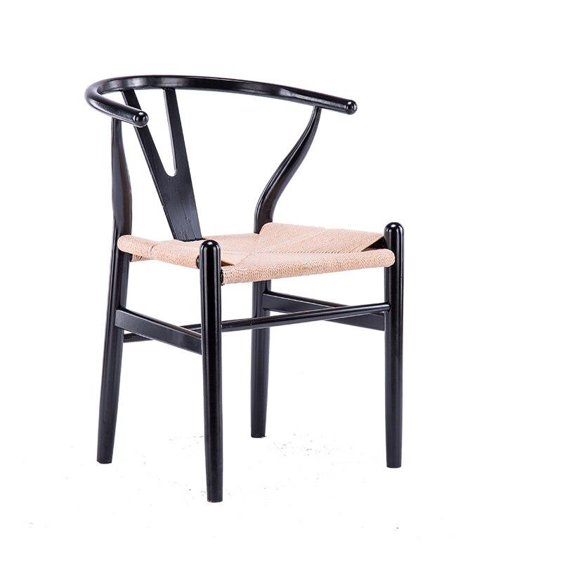 Nordic Solid Wood Dining Chair Y    Leisure    Stool  Modern Minimalist Creative  Black