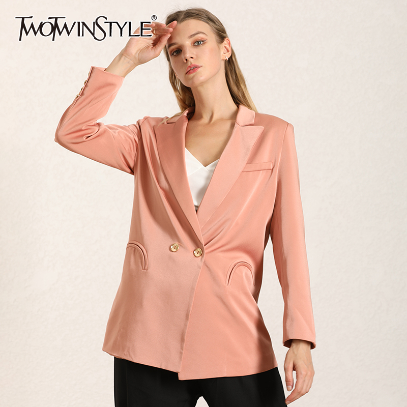 TWOTWINSTYLE Satin Blazer For Women Notched Collar Long Sleeve Elegant Large Size Coats Female Autumn 2019 Fashion New Clothing