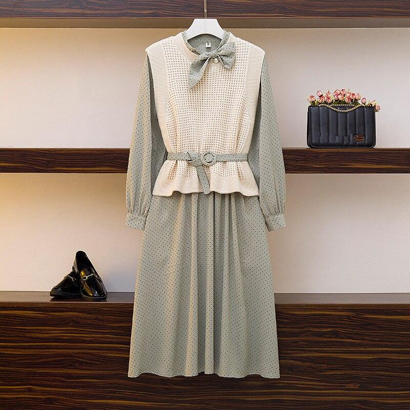 HAMALIEL Spring Autumn Chiffon Wave Point Bow Long Sleeve Dress Two Piece Set + Solid Color Knitted Belt Vest Fashion Skirt Set